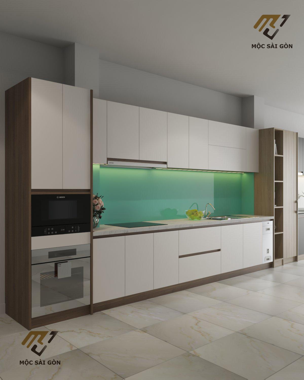 Tủ bếp màu trắng chữ i sang trọng