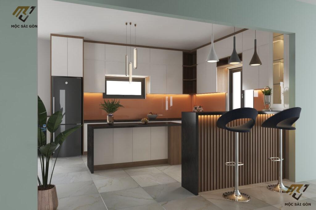 tủ bếp gỗ kết hợp quầy bar