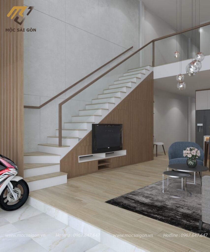 Kệ tivi kết hợp tủ cầu thang phòng khách