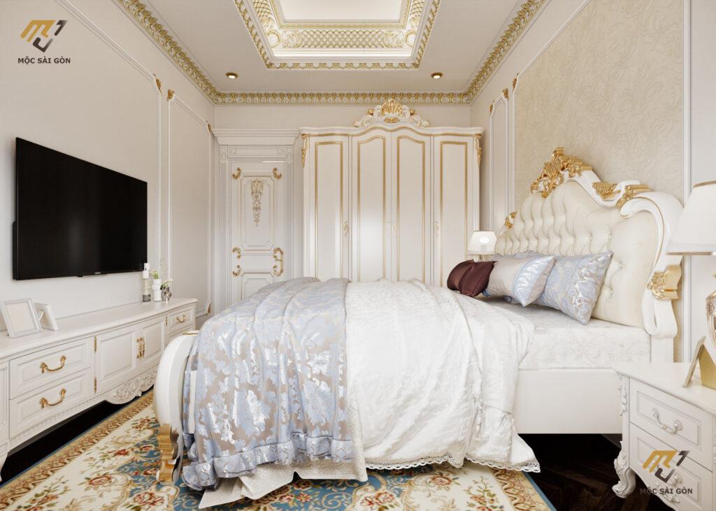 Thiết kế phòng ngủ nội thất biệt thự đơn giản