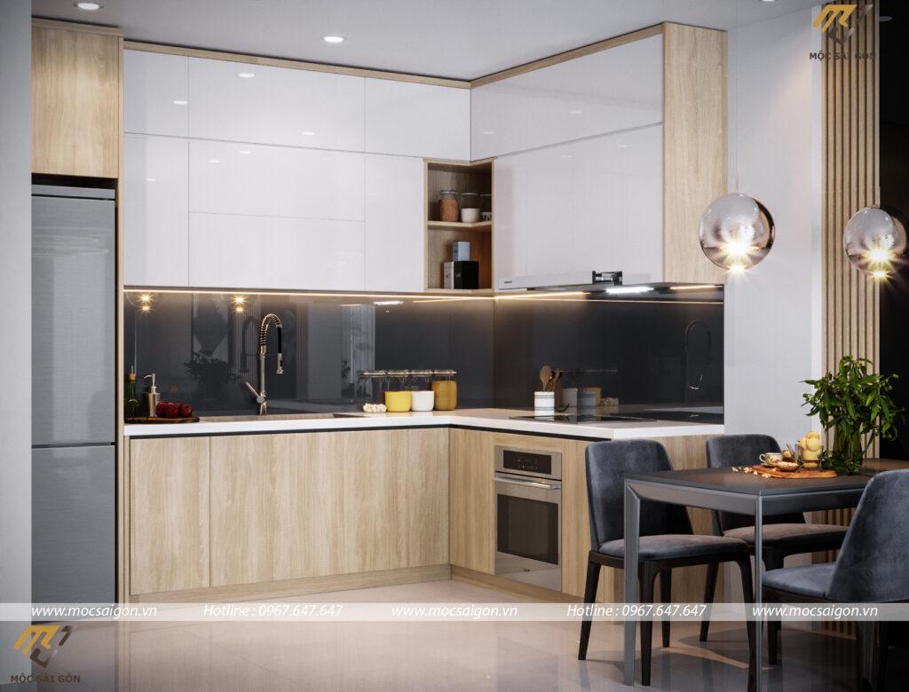 Thiết kế nội thất chung cư với mẫu bếp đẹp