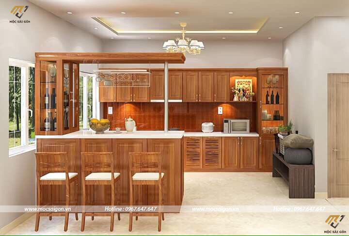 Tủ bếp gỗ tự nhiên tại ninh thuận