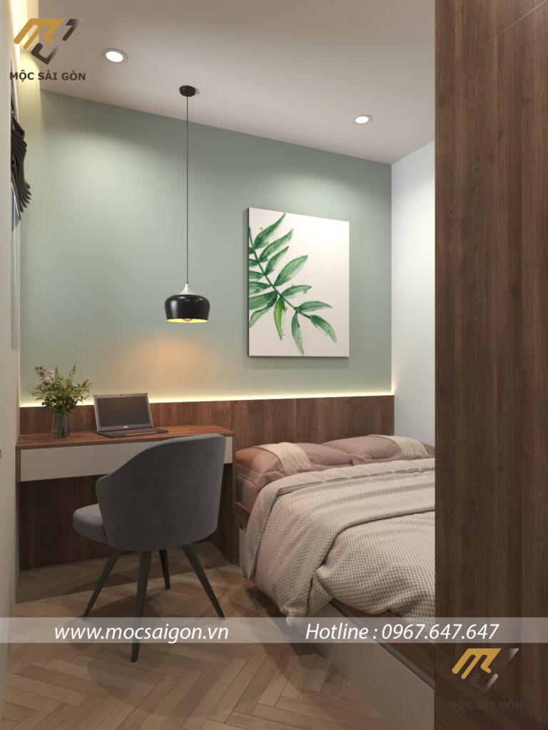 Thiết kế nội thất chung cư hạng mục phòng ngủ phụ